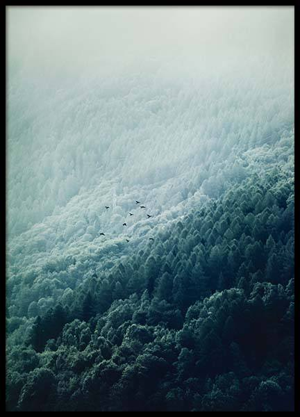 Foggy Mountainside Poster
