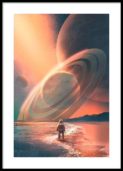 Planets In Sky Poster i gruppen Posters  / Barntavlor hos Desenio AB (10119)