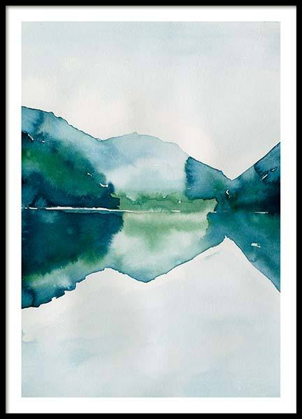 Watercolor Mountain Reflection Poster i gruppen Posters  / Konstmotiv hos Desenio AB (10123)