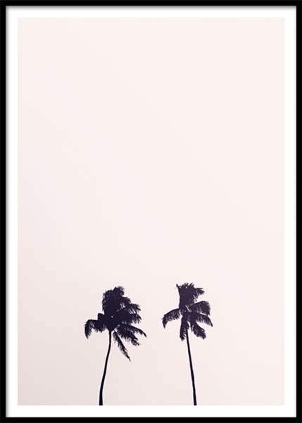 Pink Sky Palm Trees Poster