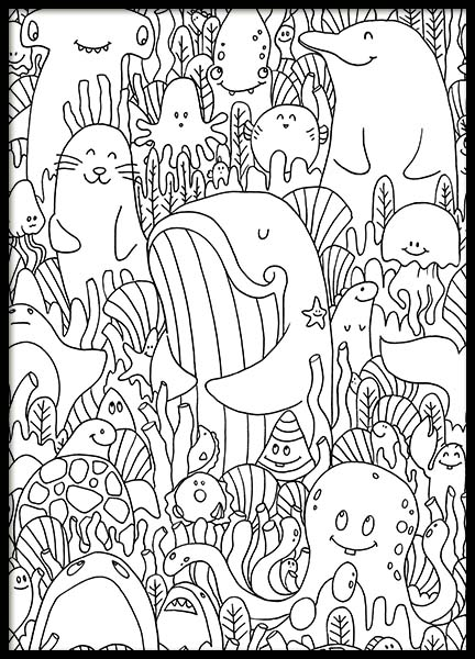 Sea Friends Poster i gruppen Posters  / Illustrationer hos Desenio AB (10206)