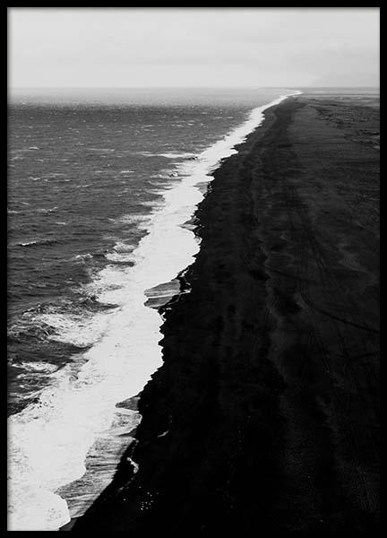 Black Beach Aerial Poster