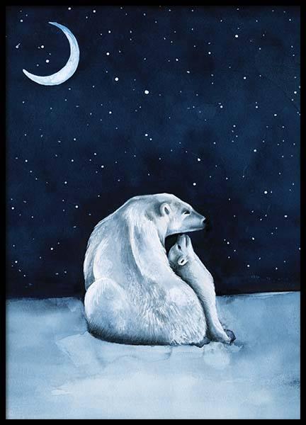 Polar Bear Night Sky Poster
