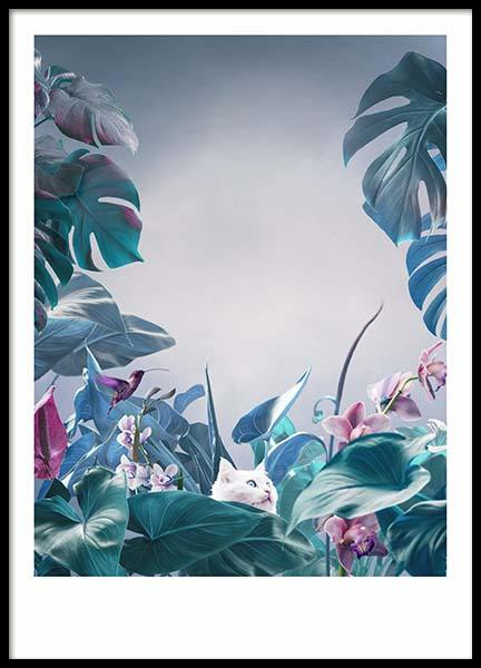 Cat in Jungle Poster i gruppen Posters  / Fotokonst hos Desenio AB (10454)