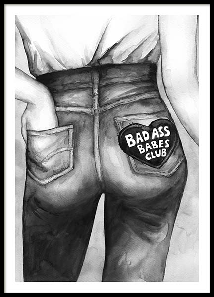 Bad Ass Babes Club Poster i gruppen Posters  / Illustrationer hos Desenio AB (10545)