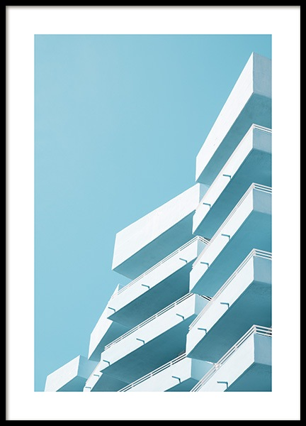 Blue Balconies Poster i gruppen Studio Collections / Studio Coast to Coast / Miami hos Desenio AB (10769)