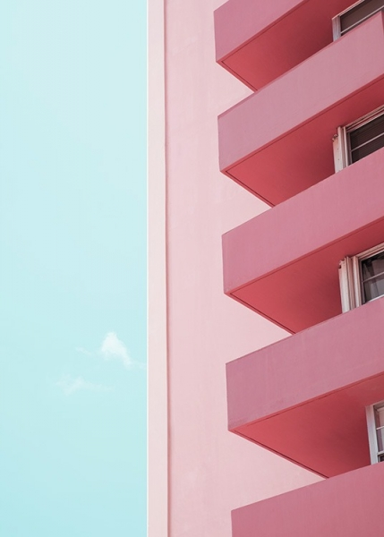 Pink Balconies Poster i gruppen Studio Collections / Studio Coast to Coast / Miami hos Desenio AB (10770)