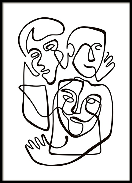 Abstract Line People No1 Poster i gruppen Posters  / Svartvita hos Desenio AB (10840)