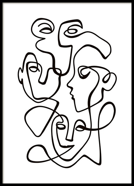 Abstract Line People No2 Poster i gruppen Posters / Svartvita hos Desenio AB (10841)