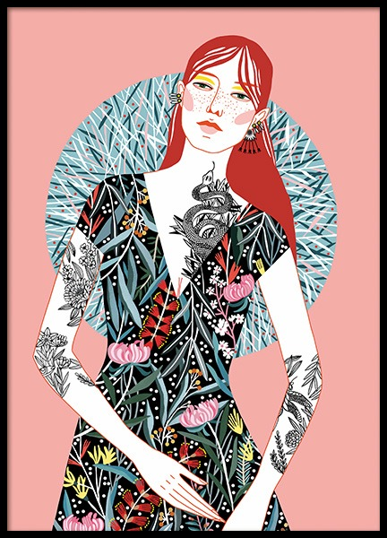 Red Head Girl Poster i gruppen Posters  / Illustrationer hos Desenio AB (11107)