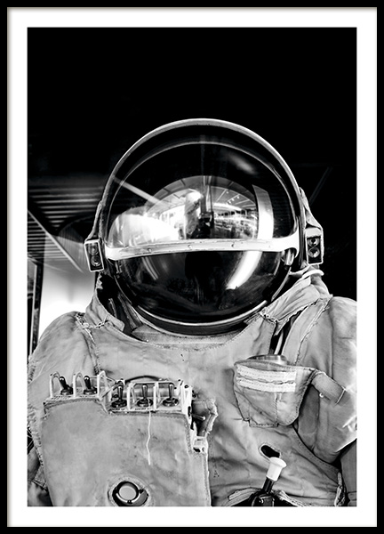 Black and White Astronaut Poster