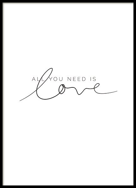 You Need Love Poster i gruppen Posters  / Texttavlor hos Desenio AB (11466)