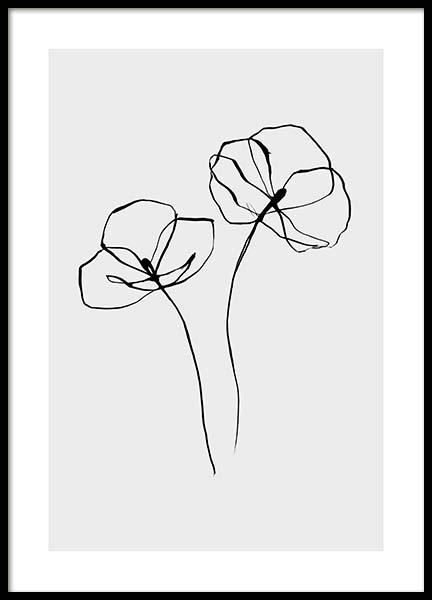 Line Flower No2 Poster