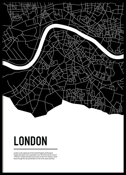 Graphic City Map London Poster i gruppen Posters  / Storlekar / 50x70cm hos Desenio AB (11936)