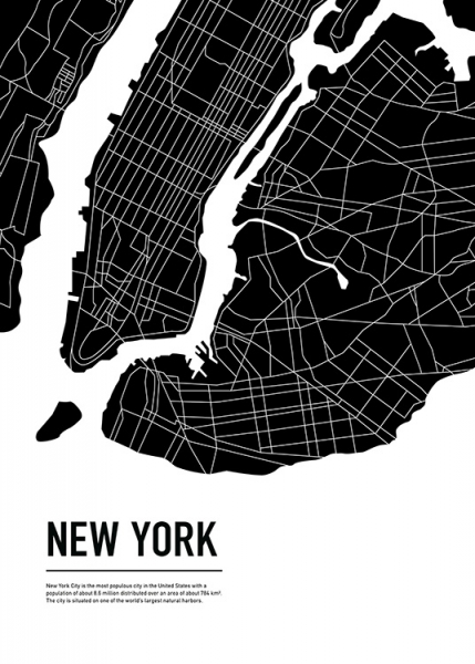 Graphic City Map New York Poster i gruppen Posters  / Storlekar / 50x70cm hos Desenio AB (11937)