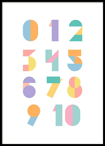 Geometric Numbers Poster i gruppen Posters  / Storlekar / 30x40cm hos Desenio AB (12116)