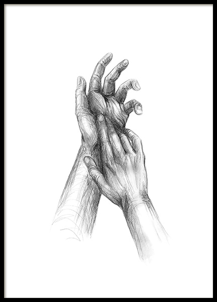 Your Hands Sketch Poster i gruppen Posters  / Illustrationer hos Desenio AB (12133)