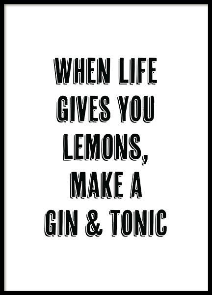 Gin and Tonic Poster i gruppen Posters  / Storlekar / 21x30cm hos Desenio AB (12249)