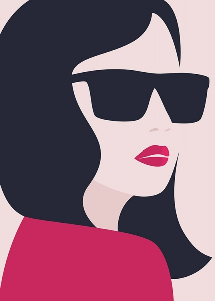 Girl in Sunglasses Poster i gruppen Posters  / Illustrationer hos Desenio AB (12417)