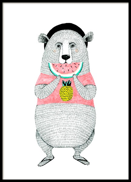 Bear with Melon Poster i gruppen Posters  / Barntavlor hos Desenio AB (12473)