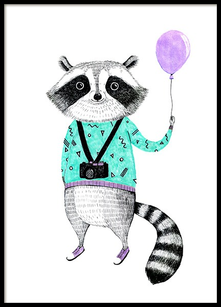 Raccoon with Balloon Poster i gruppen Posters  / Barntavlor hos Desenio AB (12474)