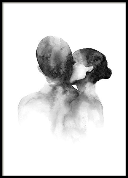Watercolor Kiss Poster