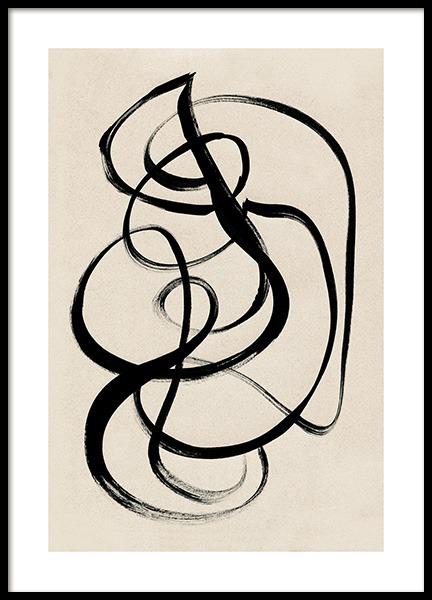 Black Ink Swirls Poster