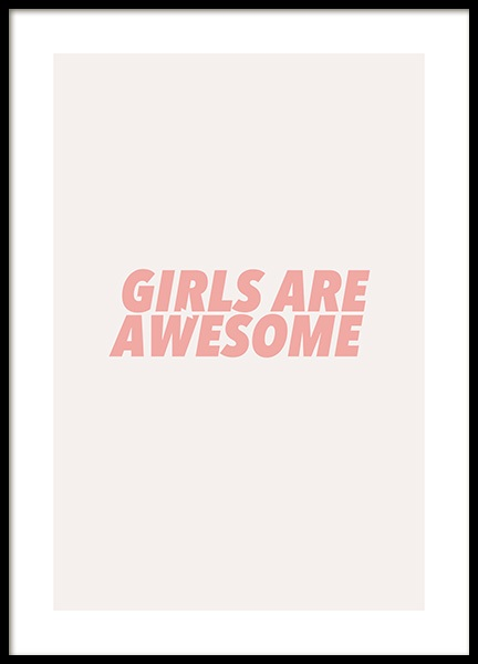 Girls Are Awesome Poster i gruppen Posters  / Texttavlor hos Desenio AB (13174)