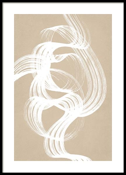 White Brush Stroke No2 Poster