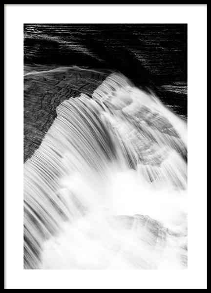 Waterfall B&W Poster