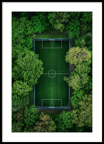 Green Soccer Pitch Poster
