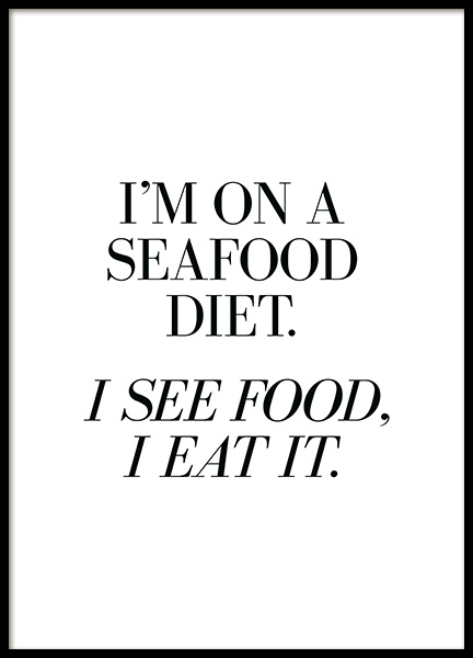 Seafood Diet Poster i gruppen Posters  / Texttavlor / Humor hos Desenio AB (13597)