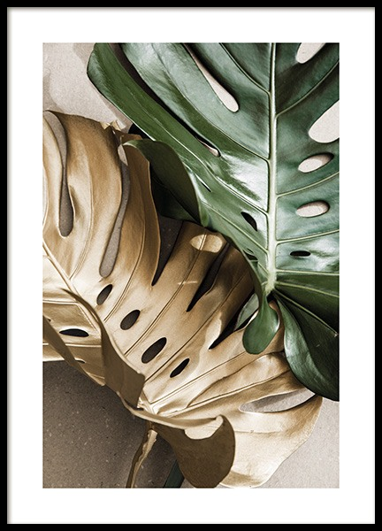 Gold Monstera No2 Poster i gruppen  hos Desenio AB (13668)