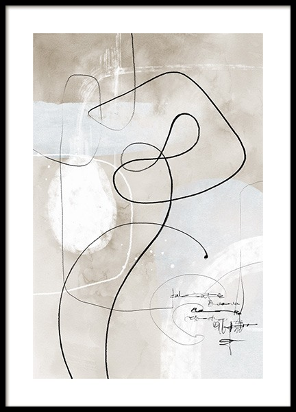 Soft Abstract Lines No1 Poster
