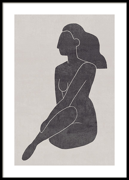 Seated Pose Black No2 Poster i gruppen Posters  / Illustrationer hos Desenio AB (13802)
