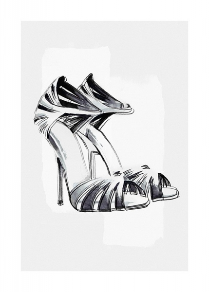 Black and White Pumps Poster i gruppen Posters  / Fashion  hos Desenio AB (13935)