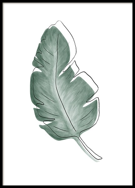 Watercolor Leaves No1 Poster