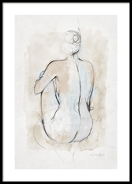 Abstract Body Sketch No1 Poster i gruppen  hos Desenio AB (14055)