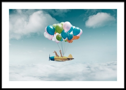 Airplane With Balloons Poster i gruppen Posters  / Barntavlor hos Desenio AB (14160)