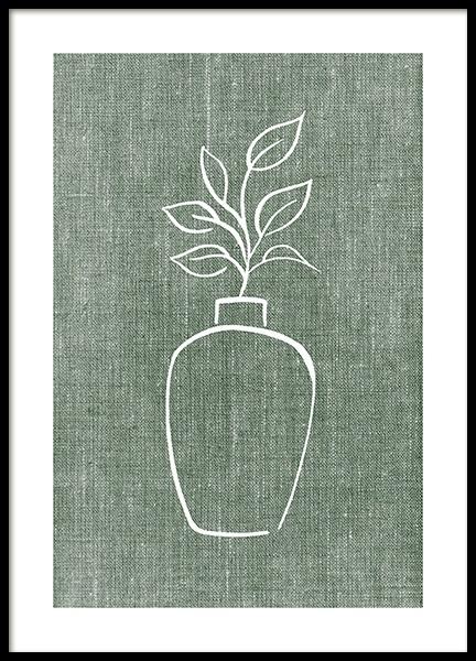 Green Linen Vase Poster