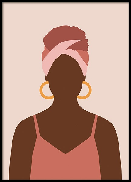 Woman With Hoop Earrings Poster i gruppen Posters  / Illustrationer hos Desenio AB (14287)