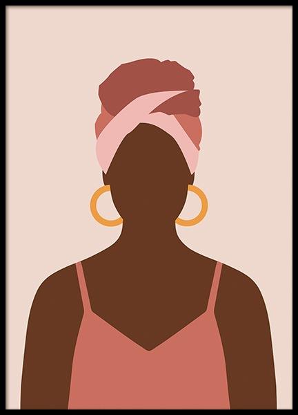 Woman With Hoop Earrings Poster