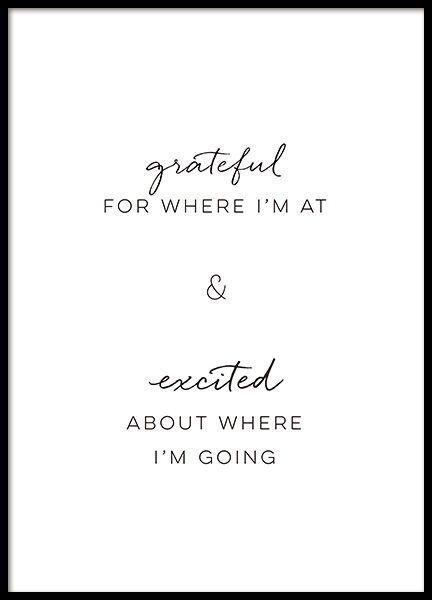 Grateful and Excited Poster i gruppen Posters  / Texttavlor hos Desenio AB (14398)