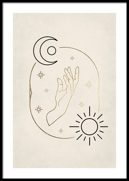 Sun and Moon Hand Poster i gruppen Posters / Illustrationer hos Desenio AB (14687)