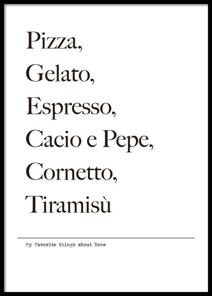 Favorite Things About Rome Poster