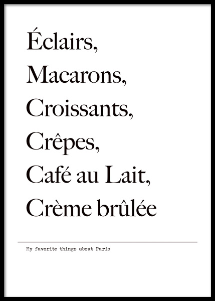 Favorite Things About Paris Poster