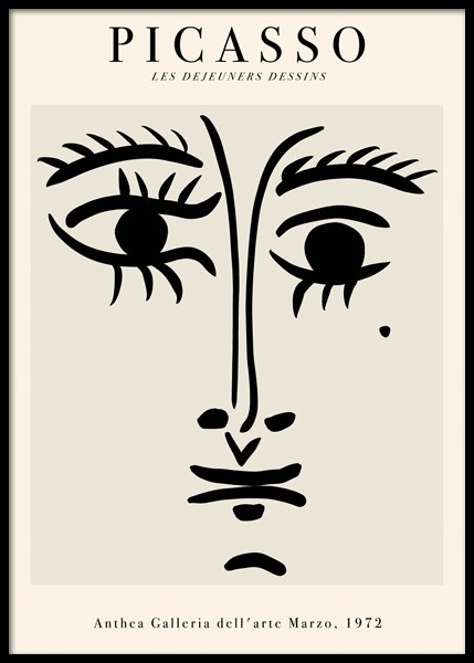 Picasso Face Drawing Poster