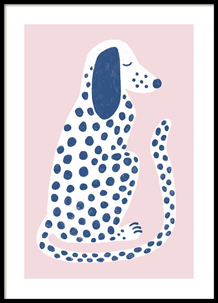 Pink and Blue Dalmatian Poster