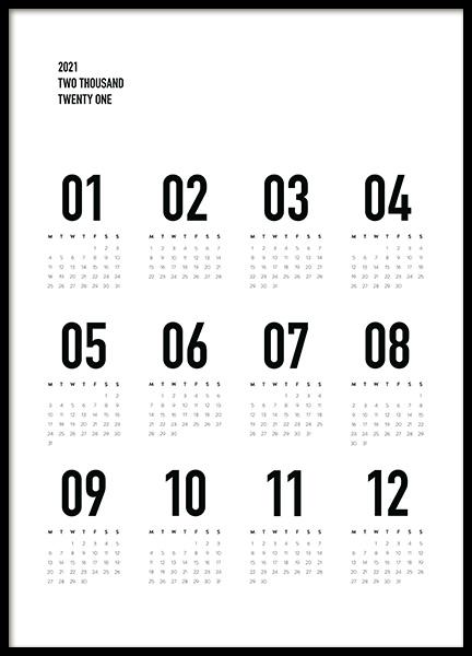 Calendar 2021 B&W Poster
