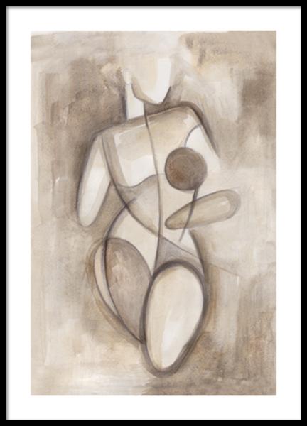 Watercolor Sketch Figure No1 Poster